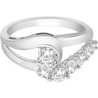 Lucera Rhodium Plated WhiteSterling Silver Ring For Women-RF4235