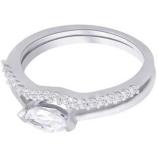 Lucera Rhodium Plated WhiteSterling Silver Ring For Women-RF5015
