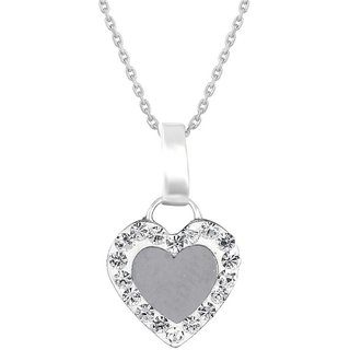 Love Universe Rhodium Plated WhiteSterling Silver Pendant  For Women-PF22480