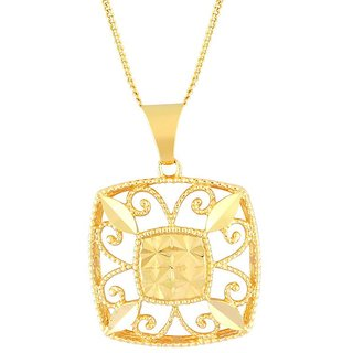 Hoop Rhodium Plated YellowSterling Silver Pendant  For Women-PF23932