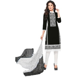 Jevi Prints Black Resham Embroidery Unstitched Cotton Salwar Suit with Dupatta