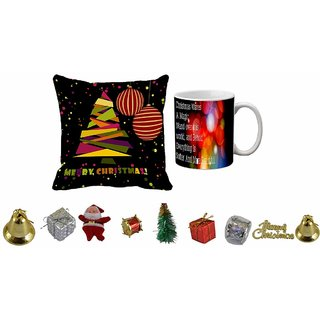 meSleep Merry Christmas Cushion Cover , Mug and 10pc Christmas Decoration Combo