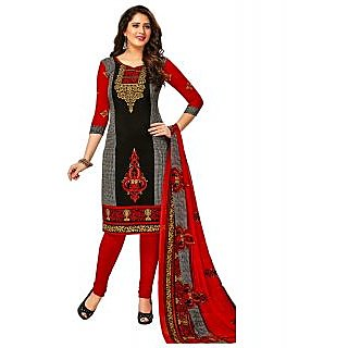 Jevi Prints Black Printed Unstitched Synthetic Salwar Suit with Dupatta