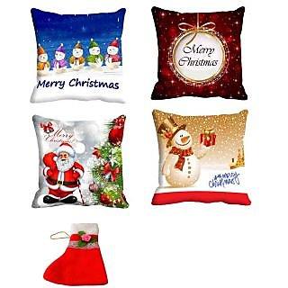 meSleep Cushion Covers Set of 4 (16x16) with Christmas Stocking