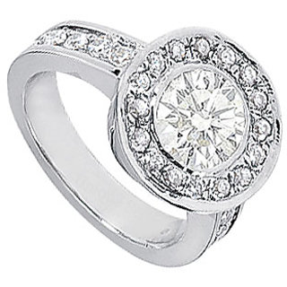 Cubic Zirconia Engagement Ring 14K White Gold 3.00 CT TGW (Option - 3)