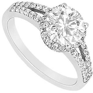 Cubic Zirconia Engagement Ring 10K White Gold 1.00 CT TGW (Option - 3)