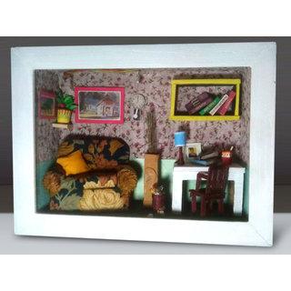Handmade 3D Miniature Study Room Frame