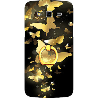Casotec Golden Butterfly Pattern Design 3D Printed Hard Back Case Cover for Samsung Galaxy Grand 2 G7102 / G7105