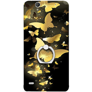 Casotec Golden Butterfly Pattern Design 3D Printed Hard Back Case Cover for Sony Xperia C4