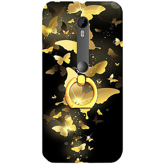 Casotec Golden Butterfly Pattern Design 3D Printed Hard Back Case Cover for Motorola Moto G 3rd Generation
