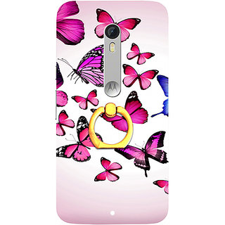 Casotec Flying Butterfly Colorful Design 3D Printed Hard Back Case Cover for Motorola Moto X Play