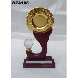 WANIA HANDICRAFTS steel gold plated circle plate , diamond and rest of wood
