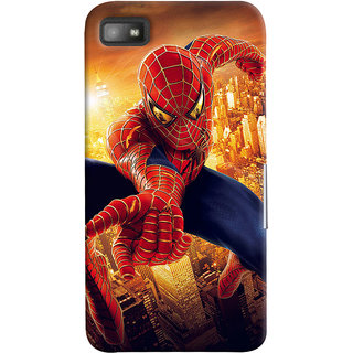 ColourCrust Blackberry Z1O Mobile Phone Back Cover With Spiderman - Durable Matte Finish Hard Plastic Slim Case