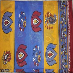 Jevi Prints Multicolor Cotton Self Design Saree With Blouse