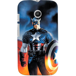 ColourCrust Motorola Moto E Mobile Phone Back Cover With Captain America - Durable Matte Finish Hard Plastic Slim Case
