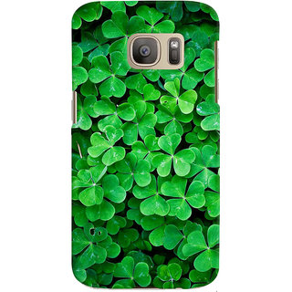ColourCrust Samsung Galaxy S7 Edge Mobile Phone Back Cover With Green Flower Shape Leaves - Durable Matte Finish Hard Plastic Slim Case