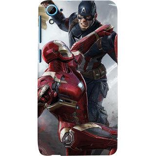 ColourCrust HTC Desire 826/Dual Sim Mobile Phone Back Cover With Iron man vs Captain America - Durable Matte Finish Hard Plastic Slim Case