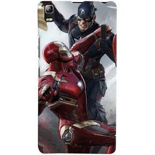 ColourCrust Lenovo A7000 Mobile Phone Back Cover With Iron man vs Captain America - Durable Matte Finish Hard Plastic Slim Case