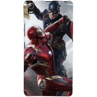 ColourCrust Lenovo K3 Note / A7000 Turbo Mobile Phone Back Cover With Iron man vs Captain America - Durable Matte Finish Hard Plastic Slim Case