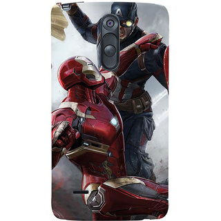 ColourCrust LG G3 Stylus / Optimus G3 Stylus Mobile Phone Back Cover With Iron man vs Captain America - Durable Matte Finish Hard Plastic Slim Case