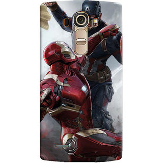 ColourCrust LG G4 H818N Mobile Phone Back Cover With Iron man vs Captain America - Durable Matte Finish Hard Plastic Slim Case