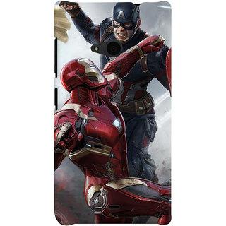 ColourCrust Microsoft Lumia 535 / Dual Sim Mobile Phone Back Cover With Iron man vs Captain America - Durable Matte Finish Hard Plastic Slim Case