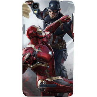 ColourCrust Micromax Yureka Plus Mobile Phone Back Cover With Iron man vs Captain America - Durable Matte Finish Hard Plastic Slim Case