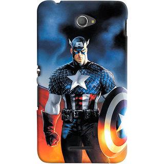 ColourCrust Sony Xperia E4 Mobile Phone Back Cover With Captain America - Durable Matte Finish Hard Plastic Slim Case