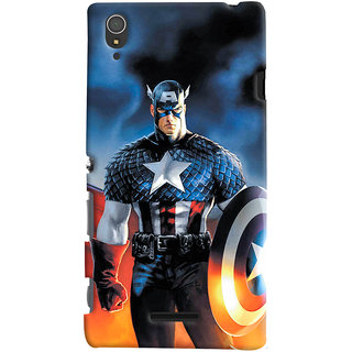 ColourCrust Sony Xperia T3 Mobile Phone Back Cover With Captain America - Durable Matte Finish Hard Plastic Slim Case