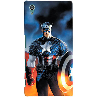 ColourCrust Sony Xperia Z5 Mobile Phone Back Cover With Captain America - Durable Matte Finish Hard Plastic Slim Case