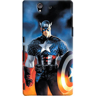 ColourCrust Sony Xperia Z Mobile Phone Back Cover With Captain America - Durable Matte Finish Hard Plastic Slim Case
