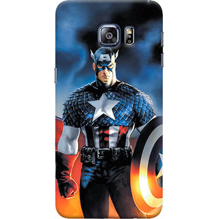 ColourCrust Samsung Galaxy S6 Edge Mobile Phone Back Cover With Captain America - Durable Matte Finish Hard Plastic Slim Case