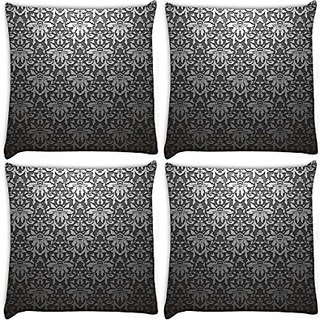Snoogg Grey Pattern Black Pack Of 4 Digitally Printed Cushion Cover Pillows 18 X 18 Inch