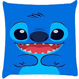 Snoogg Cute Blue Inface Digitally Printed Cushion Cover Pillow 12 X 12 Inch
