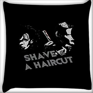 Snoogg Shave And A Haircut 14 X 14 Inch Throw Pillow Case Sham Pattern Zipper Pillowslip Pillowcase For Drawing Room Sofa Couch Chair Back Seat
