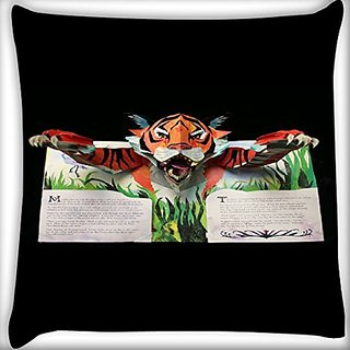 Snoogg Tiger From The Book 22 X 22 Inch Throw Pillow Case Sham Pattern Zipper Pillowslip Pillowcase For Drawing Room Sofa Couch Chair Back Seat