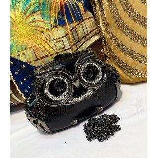 Owl Clutch in black colour