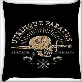 Snoogg Utrinque Paratus 24 X 24 Inch Throw Pillow Case Sham Pattern Zipper Pillowslip Pillowcase For Drawing Room Sofa Couch Chair Back Seat