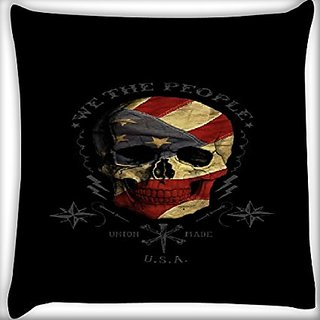 Snoogg We The People 12 X 12 Inch Throw Pillow Case Sham Pattern Zipper Pillowslip Pillowcase For Drawing Room Sofa Couch Chair Back Seat
