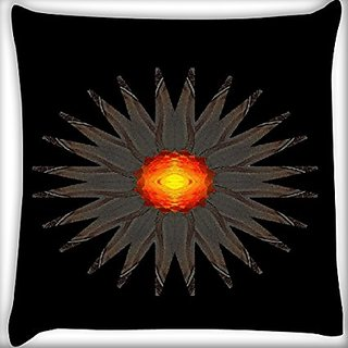 Snoogg Orange Flower 18 X 18 Inch Throw Pillow Case Sham Pattern Zipper Pillowslip Pillowcase For Drawing Room Sofa Couch Chair Back Seat