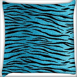 Snoogg Blue Tiger Skin 20 X 20 Inch Throw Pillow Case Sham Pattern Zipper Pillowslip Pillowcase For Drawing Room Sofa Couch Chair Back Seat