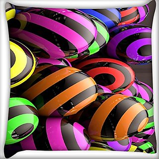 Snoogg Colorful Balls 24 X 24 Inch Throw Pillow Case Sham Pattern Zipper Pillowslip Pillowcase For Drawing Room Sofa Couch Chair Back Seat