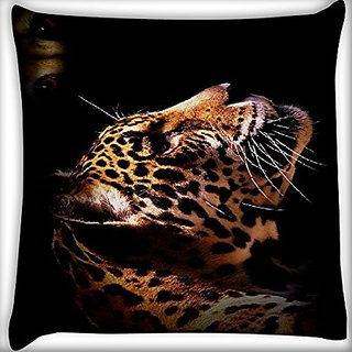 Snoogg Leopard 18 X 18 Inch Throw Pillow Case Sham Pattern Zipper Pillowslip Pillowcase For Drawing Room Sofa Couch Chair Back Seat