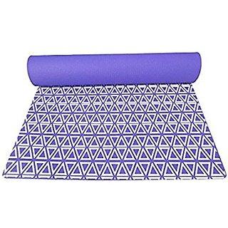 Gravolite Triangle Print Design Yoga Mat 6 Feet Length & 3 Feet Wide, 6 MM Thickness (Purple) with Strap & Yoga Bag