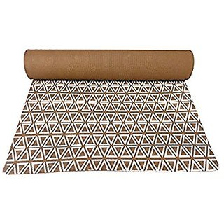 Gravolite Triangle Print Design Yoga Mat 6.5 Feet Length & 2.1 Feet Wide, 9 MM Thickness Brown with Strap & Yoga Bag