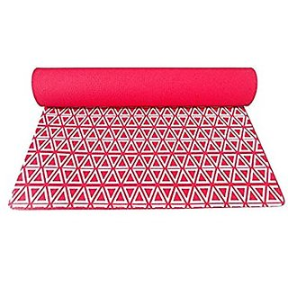 Gravolite Triangle Print Design Yoga Mat 6.5 Feet Length & 2 Feet Wide, 6 MM Thickness (Red) with Strap & Yoga Bag