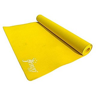 Gravolite 6 MM Thickness Plain Yoga Mat Yellow Color with Strap & Carry Bag