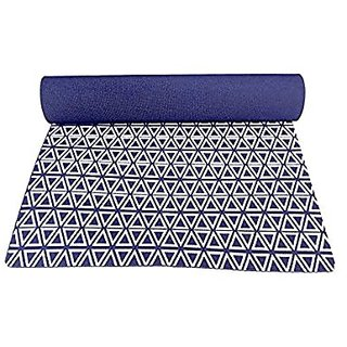 Gravolite Triangle Print Design Yoga Mat 6 Feet Length & 3 Feet Wide, 3 MM Thickness Navy Blue with Strap