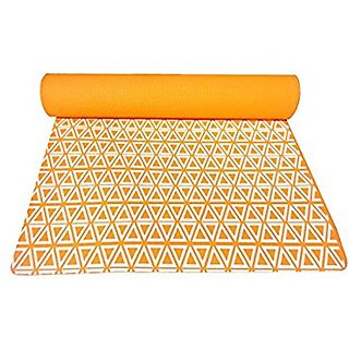 Gravolite Triangle Print Design Yoga Mat 6.5 Feet Length & 2 Feet Wide, 8 MM Thickness Orange with Strap & Yoga Bag