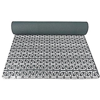 Gravolite Triangle Print Design Yoga Mat 6 Feet Length & 3 Feet Wide, 9 MM Thickness Dark Green with Strap & Yoga Bag